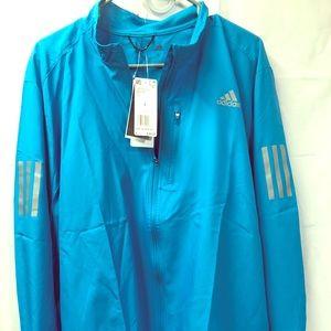 Adidas Mens Water-Repellent Zipper Jacket Blue L